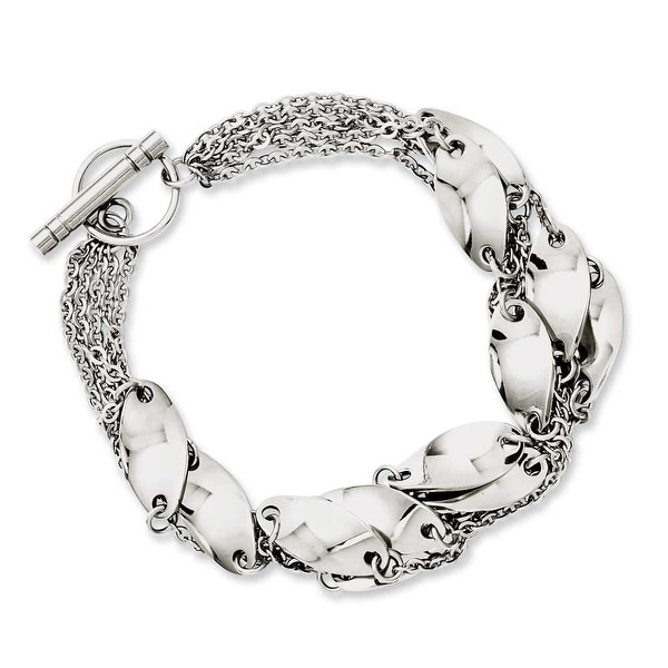 Chisel Stainless Steel Polished Swirl 8in Toggle Bracelet
