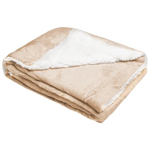 Sherpa Fleece Throw Blanket, Double Layer Fleece Blanket