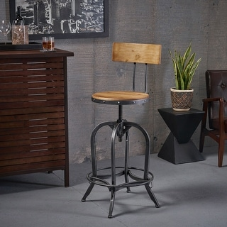 Link to Stirling Adjustable Wood Backed Bar Stool by Christopher Knight Home Similar Items in Dining Room & Bar Furniture
