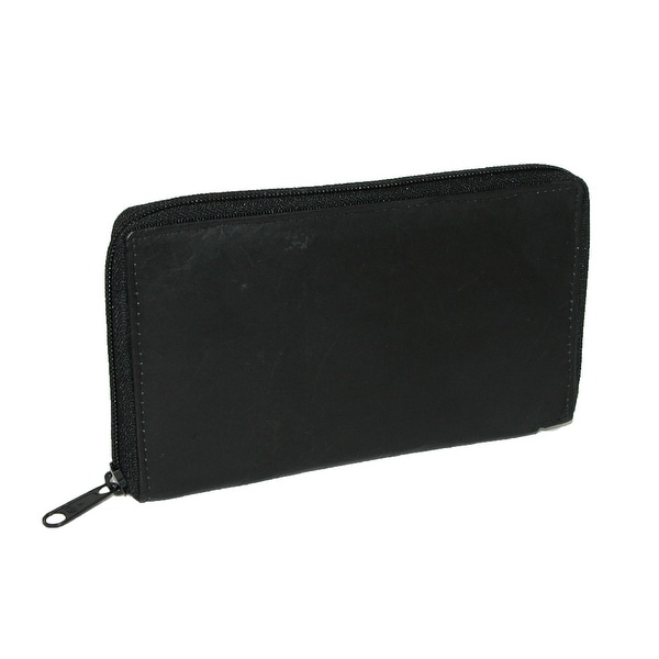 CTM® Men's Leather Zippered Credit Card Case - One size