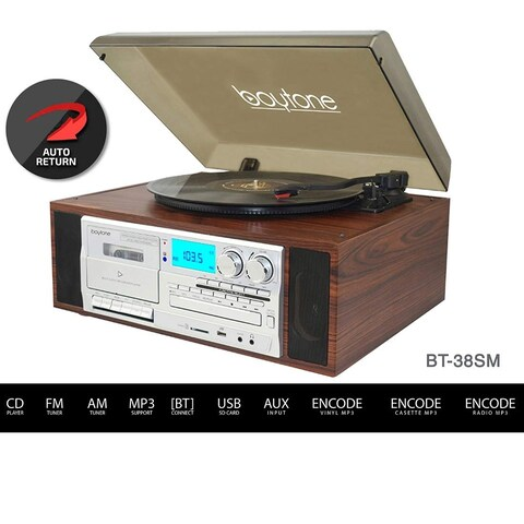 Boytone BT-38SM Bluetooth Turntable, AM/FM, CD / Cassette Player, 2 Speakers, Record from Vinyl, Radio, to MP3, SD Slot, and USB