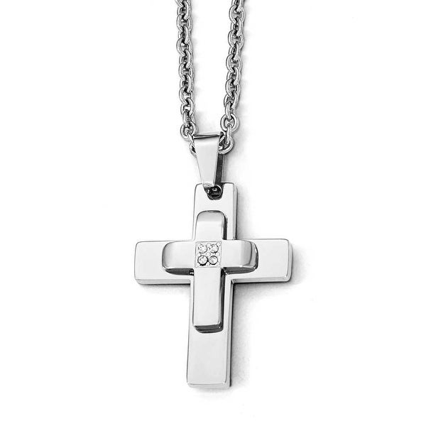 Chisel Stainless Steel Polished CZ Cross Necklace - 22 in