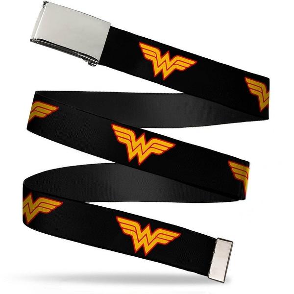 """Blank Chrome 1.0"""" Buckle Wonder Woman Logo Black Webbing Web Belt 1.0"""" Wide - S"""