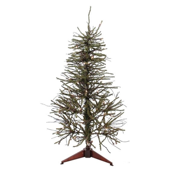 3' Warsaw Twig Artificial Christmas Tree - Clear Lights - brown