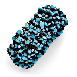 """Chisel Dyed Howlite Turq Color, Black Tourmaline & FWC Pearls Stretch Bracelet"""""""