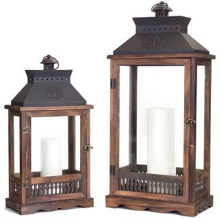 "Set of 2 Wooden Country Rustic Vented Top Candle Lanterns 27.5"" - N/A"