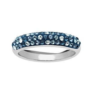 Crystaluxe Ring with Light Azure, Denim Blue, Indian Blue, and Montana Swarovski Crystals in Sterling Silver - Blue