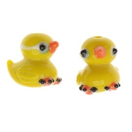 Lampwork Glass Novelty Beads, Rubber Duckies 17.5mm, 2 Pieces, Yellow