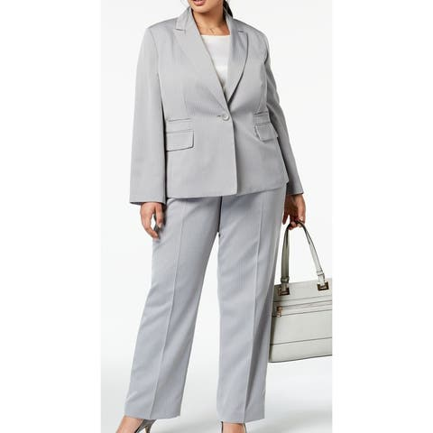 Le Suit Womens Pant Suit Set Plus Peak-Lapel Herringbone