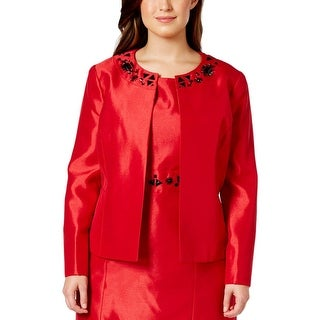 Kasper Womens Plus Jacket Shantung Embellished