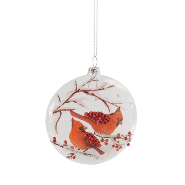 Club Pack of 12 Clear Cardinals On A Snowy Branch Glass Disc Christmas Ornament 4""