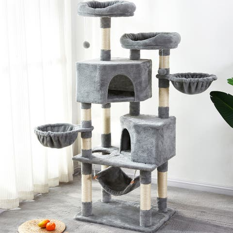 Merax Large Cat Tree Condo with Sisal Scratching Posts Perches Houses Hammock - Gray