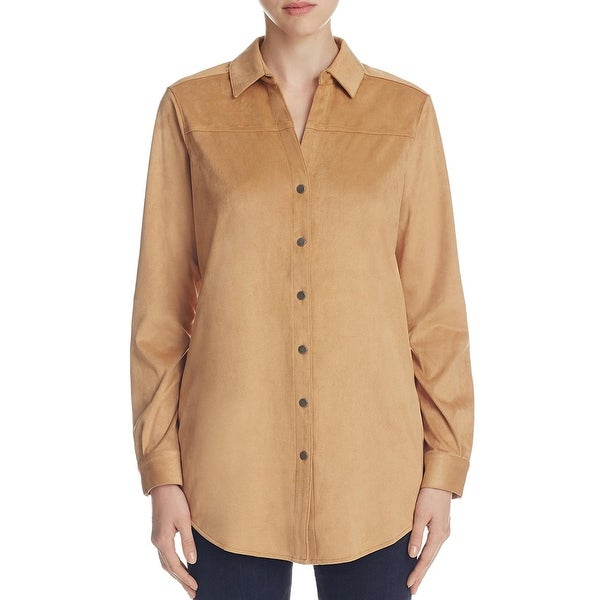 Foxcroft Womens Button-Down Top Faux Suede Snap Buttons