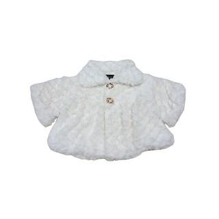 Baby Girls White Swirl Soft Texture Button Closure Faux Fur Jacket