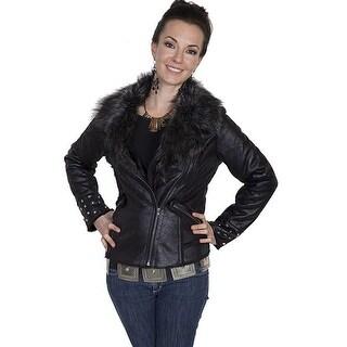 Scully Western Jacket Womens Faux Fur Motorcycle Asymmetric Zip 8022