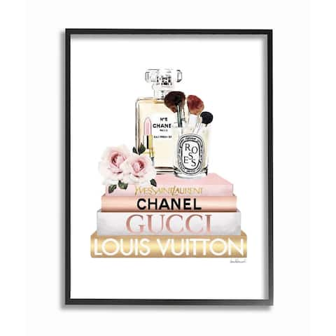 Stupell Industries Fashion Essentials with Iconic Glam Brands Framed Wall Art - Pink