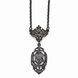 Black IP Downton Abbey Necklace - 16in