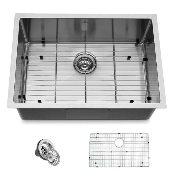 "Handmade 27"" Undermount Single Bowl Stainless Steel Kitchen Sink - 27""x19""x10"". Opens flyout."
