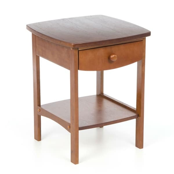 Walnut Wood Finish 1 Drawer Bedroom Nightstand Bedside Table Pictured On Sale Overstock 30668212