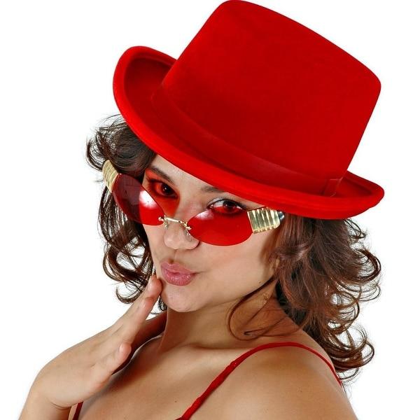 Top Hat Red Velvet Adult Costume Hat