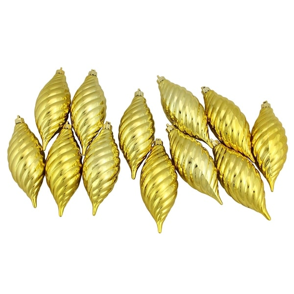 """Club Pack of 12 Golden Yellow Shatterproof Finial Christmas Ornaments 4.75"""""""