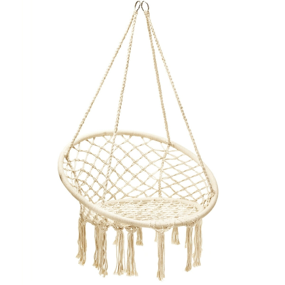 Shop Hanging Macrame Hammock Chair With Handwoven Cotton Backrest Overstock 31865631