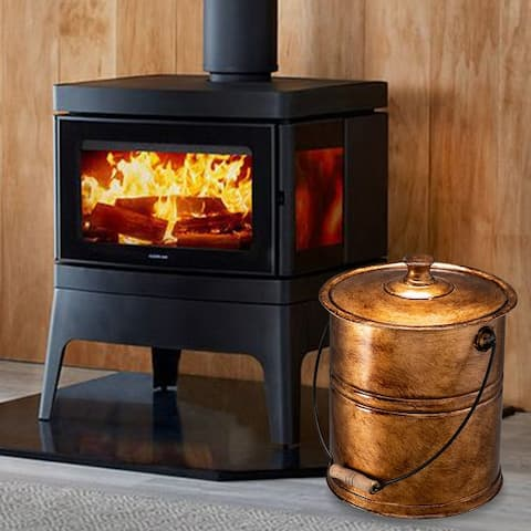 Artisasset Black 11L Iron Ash Bucket With Lid Indoor Fireplace Tool