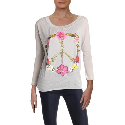Chaser Womens Peace Graphic T-Shirt Floral Burnout