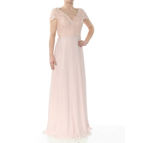 eb4c75cfef964 CALVIN KLEIN Womens Pink Lace Chiffon Gown Short Sleeve V Neck Full-Length  Empire Waist