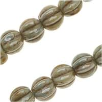 Czech Pressed Glass - Round Melon Beads 5mm Diameter 'Opaque Green Luster' (50)