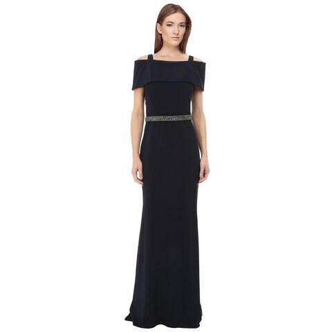 Badgley Mischka Off Shoulder Beaded Waist Evening Gown Dress Navy