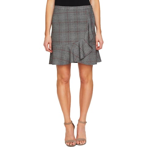 CeCe Womens Wrap Skirt Faux Houndstooth