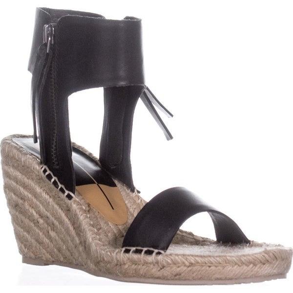 Dolce Vita Gisele Wedge Espadrille Ankle Strap Sandals, Black Leather - 9 us