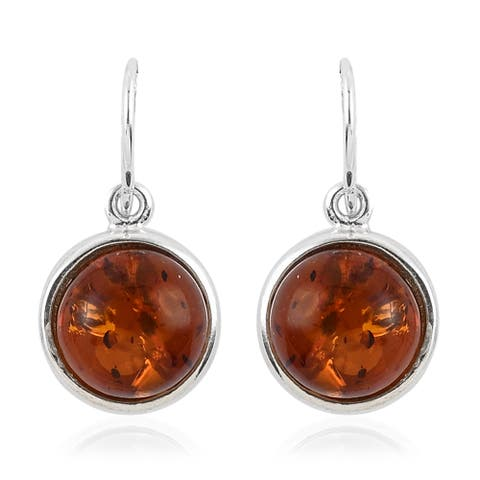 Shop LC 925 Sterling Silver Yellow Amber Round Elegant Earrings