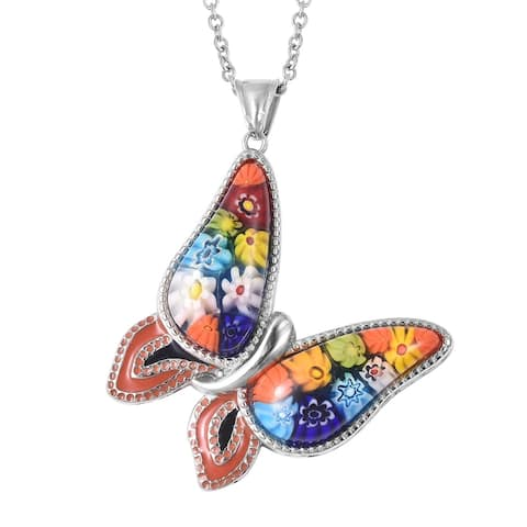 Murano Millefiori Glossy Butterfly Pendant Steel Chain Gifts 20 Inch - Size 20''