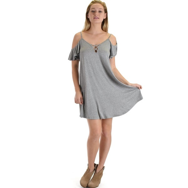94f4bdb4855a Shop grey half sleeve off shoulder shift dress with crisscross spaghetti  detail sl417 Grey-Medium - Free Shipping On Orders Over  45 - Overstock -  23109798