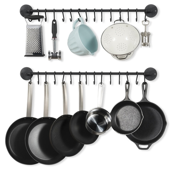 """Wallniture Delux 33"""" Iron Pot Rack Set of 2, Cooking Utensil Holder with 30 S Hooks, Black. Opens flyout."""