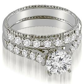 1.50 cttw. 14K White Gold Vintage Cathedral Round Cut Diamond Bridal Set (Option: 3) https://ak1.ostkcdn.com/images/products/is/images/direct/8b6cea8236a5c4f9edbd8707c3881461b755e51a/1.50-cttw.-14K-White-Gold-Vintage-Cathedral-Round-Cut-Diamond-Bridal-Set-%28I1%2C-H-I%29.jpg?impolicy=medium