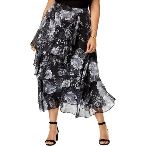 I-N-C Womens Ruffle Tiered Skirt, Black, 18W
