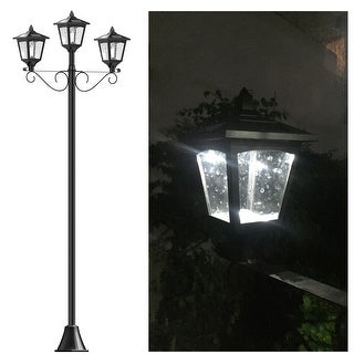 "Kanstar Upgrade 72"" Triple-Head Street Vintage Outdoor Garden Solar Lamp Post Light Lawn - Black"