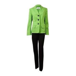 Le Suit Women's Nantucket Peaked Woven Pant Suit - key lime/chocolate - 10