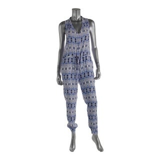 Charlie Jade Womens Printed V-Neck Jumpsuit - S