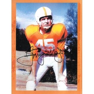 Johnny Majors signed Tennessee Volunteers Vintage 8x10.5 Photo (orange border)- BAS-Beckett Hologram