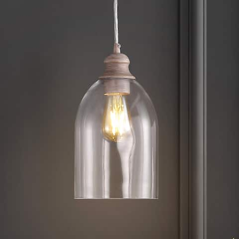 """Fontaine 6"""" Adjustable Glass LED Pendant, Grey/Clear by JONATHAN Y"""