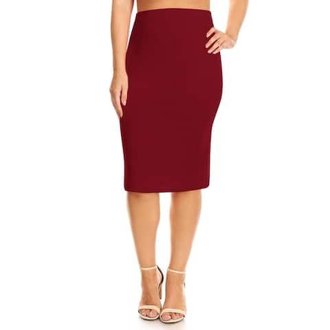 Women's Solid Color Plus Size Pencil Skirt