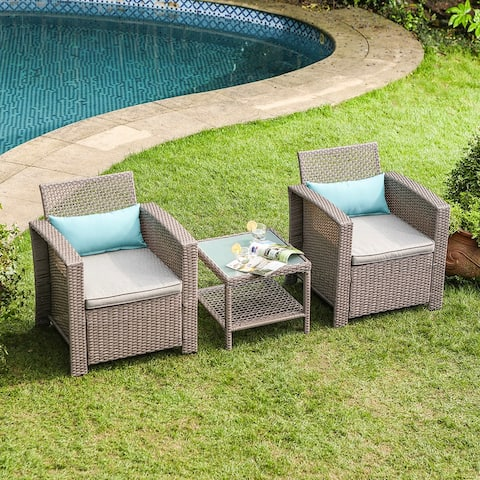 COSIEST 3 Piece Bistro Set with Cushions