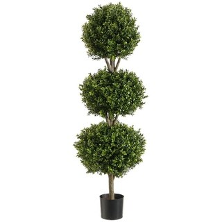 4' Potted Artificial Triple Ball-Shaped Boxwood Topiary - Green