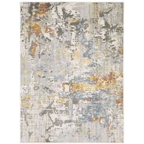Caldon Contemporary Abstract Gray Area Rug