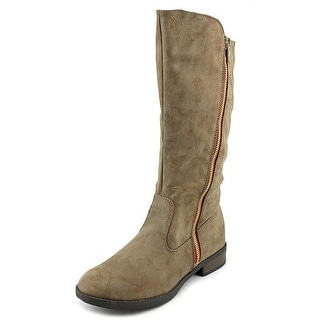 Qupid Turner-17 Women Round Toe Leather Tan Mid Calf Boot
