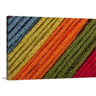 """Close  To Blue, Yellow, Orange, Green  Threads Diagonal"" Canvas Wall Art"